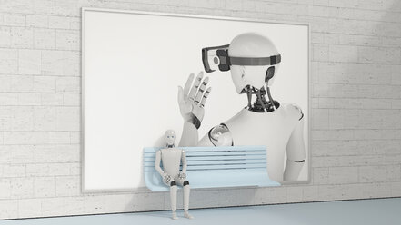 Robot sitting on bench in front of billboard, 3D Rendering - AHUF00262