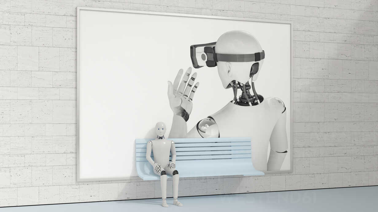 Robot sitting on bench in front of billboard, 3D Rendering - AHUF00262 - Anna Huber/Westend61