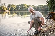 Senior man playing with dog at a lake - ONF01030