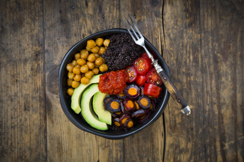 Buddha bowl of black amaranth, avocado, Purple Haze, roasted chickpeas, tomatoes and ajvar - LVF05389