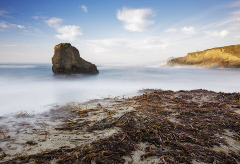 Spain, Galicia, Ferrol, Long exposure at beach with algae in the sand - RAEF01511