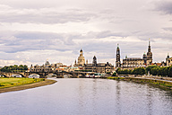 Germany, Saxony, Dresden, historic old town with Elbe River in the foreground - KRPF01882