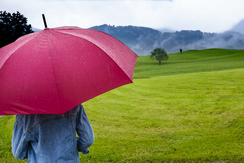 Germany, Allgaeu, back view of teenage girl with pink umbrella on a meadow at rainy day - HAMF00215