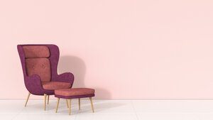 Retro style arm chair and stool against pink wall - AHUF00265