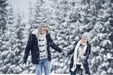Happy couple in winter landscape - HAPF00983