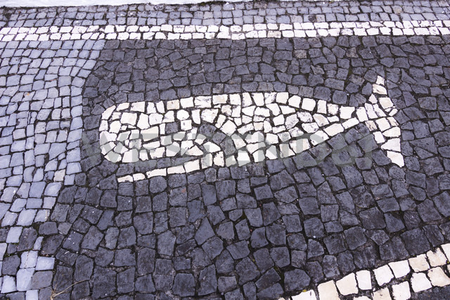 Whale built of cobblestones at pedestrian area - CMF00564