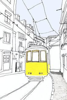 Portugal, Lisbon, historic tramway, illustration - CMF00570