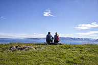 Iceland, back view of couple looking at view - RBF05222