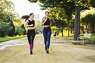 Two young women jogging in park - EBSF01831