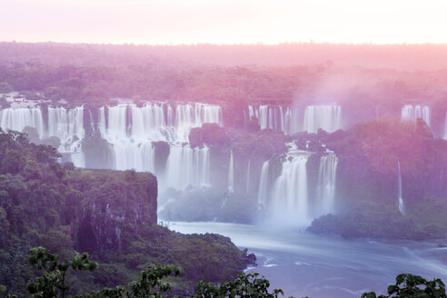 Brazil, Parana, Iguacu National Park, Iguacu Falls at sunset - BMAF00238