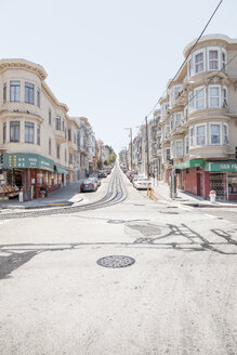 USA, San Francisco, view of empty street with tram rails - BMA00250