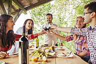 Friends clinking red wine glasses at outdoor table - ZEDF00414