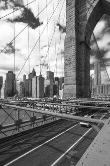 USA, New York City, part of Brooklyn Bridge with view to Manhattan - ZEF11110