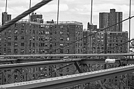 USA, New York City, view to multi-family houses from Brooklyn Bridge - ZEF11119