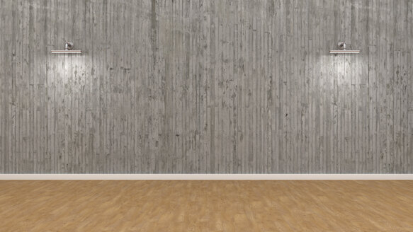 Empty room with illuminated concrete wall, 3d rendering - UWF01045