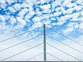 Germany, Duesseldorf, part of Oberkassel Bridge in front of cloudy sky - KRPF01945