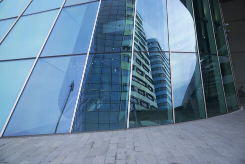 Netherlands, Arnheim, part of glass facade of central station with reflection - BSC00543