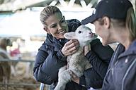 Two women holding little lamb on farm - ZEF11245