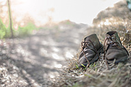 Pair of old boots on a farm - ZEF11251