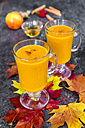 Two glasses of pumpkin smoothie and autumn leaves - SARF03035