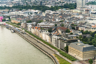 Germany, Duessseldorf, aerial view of the old town and River Rhine - TAMF00743