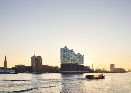Germany, Hamburg, view to Elbe Philharmonic Hall at sunset - WHF00062