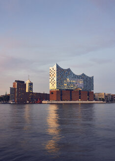Germany, Hamburg,view to Elbe Philharmonic Hall at evening twilight - WHF00066