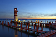 Austria, Seewinkel, Podersdorf, lighthouse at twilight - LBF01505