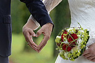 Hands of bride and groom forming a heart, close-up - LBF01506