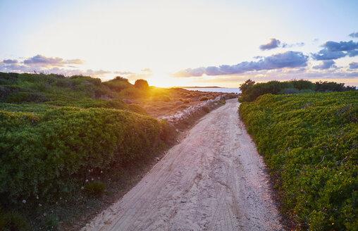 Italy, Sardinia, Naracu Nieddu, coastal path at sunset - MRF01664