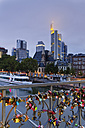 Germany, Hesse, Frankfurt, Skyline and love locks at Eiserner Steg - GFF00845