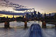 Germany, Hesse, Frankfurt, Skyline of financial district with Ignatz Bubis Bridge - GFF00857