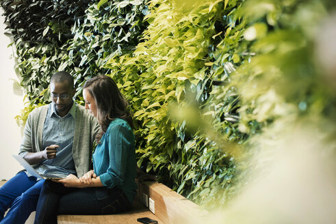 Businessman and woman sitting in front of green plant wall, using laptop - WESTF21906