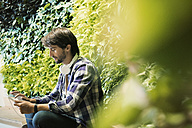 Young man sitting infront of green plant wall, using digital tablet - WESTF21909