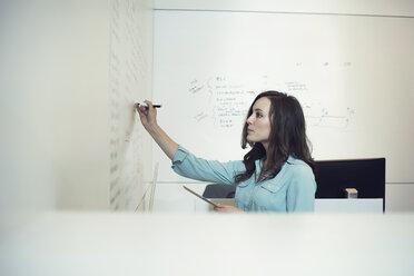 Businesswoman writing on whiteboard in office - WESTF21939