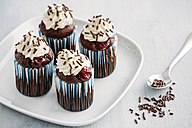 Four Black Forest Cake Muffins on plate - IPF00337