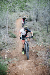 Two mountainbikers on forest trail - JRFF00995