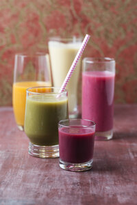 Five glasses of different smoothies - MYF01827