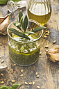Glass of basil pesto and ingredients - ODF01462