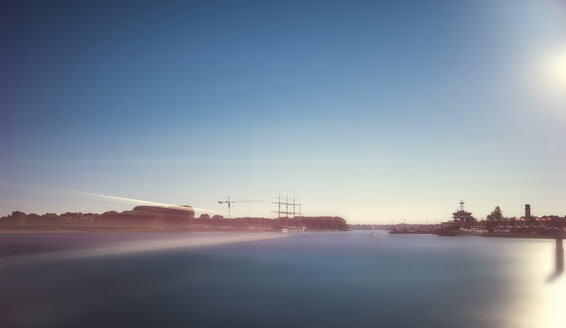 Germany, Travemuende, port entrance with driving ferry, long exposure - FRF00487