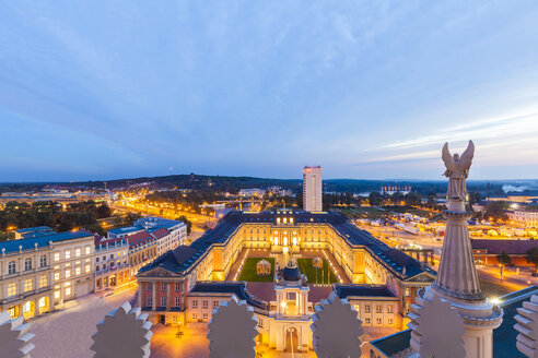 Germany, Potsdam, view to lighted Potsdam City Palace with Fortuna Portal from St. Nicholas church - WDF03788