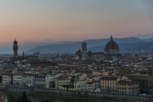 Italy, Florence, cityscape in the evening - PAF01734