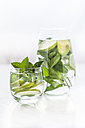 Glass and carafe of detox water with mint and limes - SBDF03063