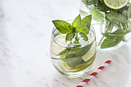 Glass and carafe of detox water with mint and limes - SBDF03066