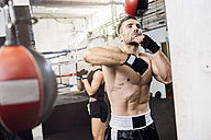 Boxer exercising at punchingball - MADF01242