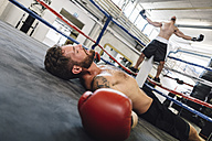 Knocked out boxer lying in boxing ring - MADF01290