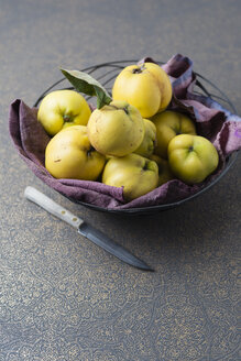Fruit bowl of quinces and a knife - MYF01854