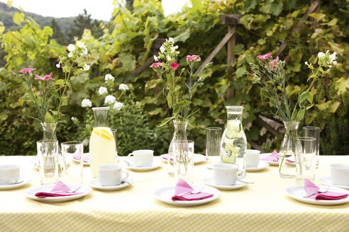 Laid table in garden, decorated for a birthday party - MFRF00725