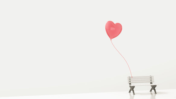 Red heart-shaped balloon attached to white bench, 3d rendering - UWF01070