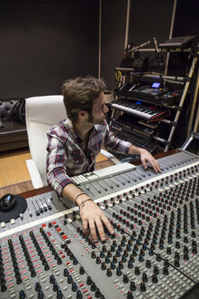 Man working in the control room of a recording studio - ABZF01548